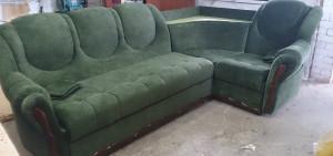 Перетяжка материала углового дивана